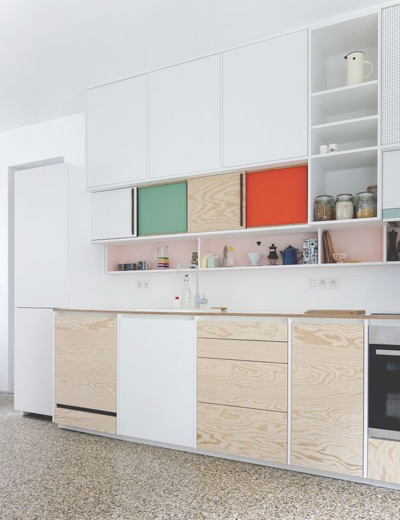 color blocking can be easily incorporated with drawers or compartment doors in various bold colors