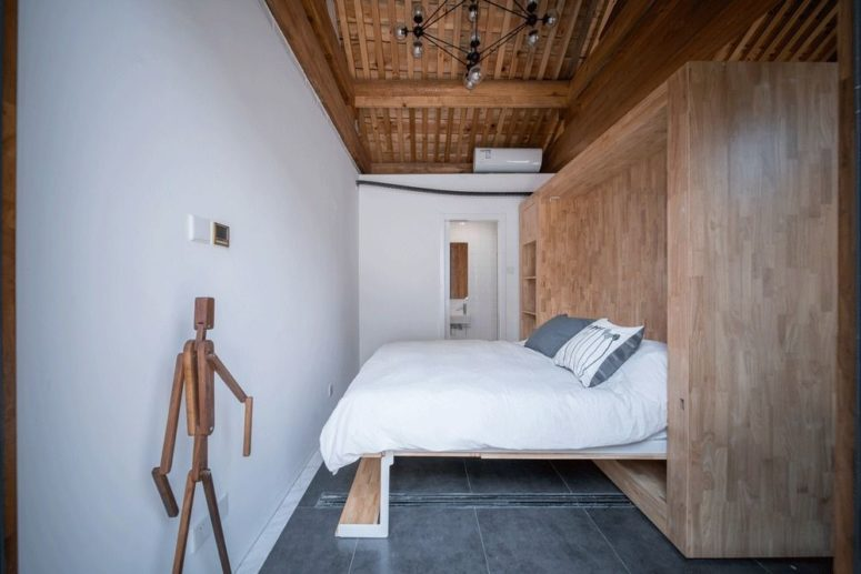 Much wood in decor gives the spaces a comfortable and welcoming feel