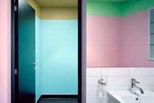 09 a mix of green and pink with a color block effect and some white tiles to make the look less crazy