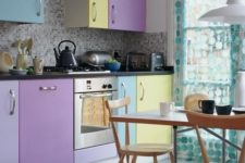 09 a pastel kitchen with purple, lavender, yellow and blue cabinets for a color block effect