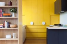 10 a chic contemporary kitchen in navy and sunny yellow with sleekdesign and white touches