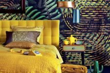 11 a bold yellow upholstered bed with bedding and blankets of the same color for a touch of sun