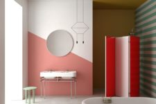 11 a bright bathroom with coral, red, mustard and green touches, prints and color blocking at the same time