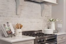 11 a whitewashed brick backsplash is a cool and chic idea to add texture to your kitchen