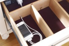 11 go for a hidden charging station like this one to make the space decluttered