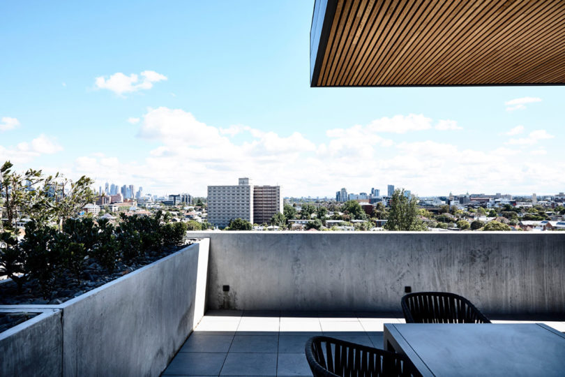 There's a large outdoor patio with gorgeous views of Melbourne