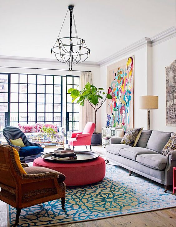 add a touch of color to your living room with a bright ottoman
