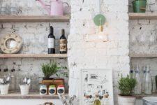impressive kitchen design with whitewashed walls