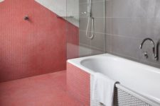 13 a grey and coral color blocked bathroom with a geometric touch done with penny tiles looks wow