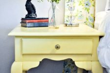 13 a light yellow nightstand DIYed of a vintage piece and yellow floral curtains