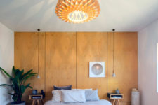 bedroom with cool pendant lamps