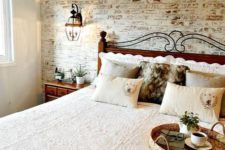 15 a whitewashed red brick headboard wall is an interesting solution to add color to the space
