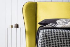 15 an ultra-modern lemon yellow bed plus dark bedding and pillows for a bright look