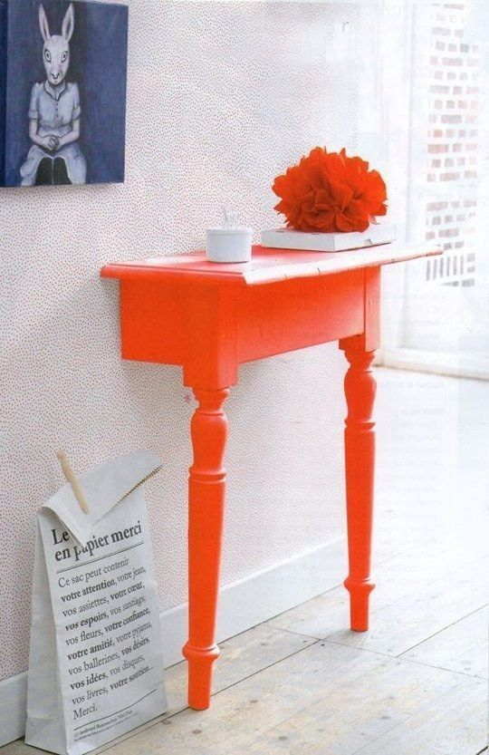 chop a table in half to make the ultimate space saving entryway table and then paint it bold