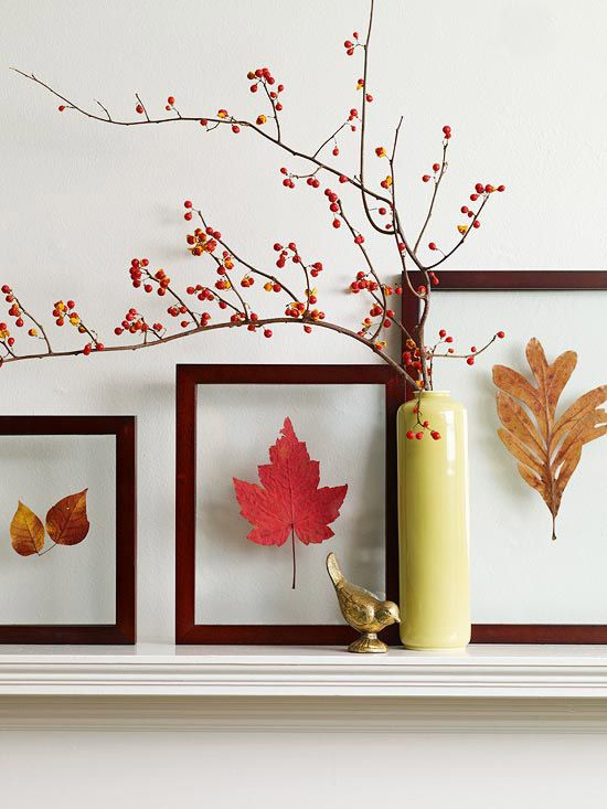 pressed fall leaves in frames with acryl for a modern fall display - they seem to be floating in the air