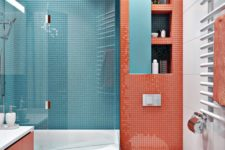 16 a simple color blocking idea pairing coral with blue and touches of white for refreshing the space visually