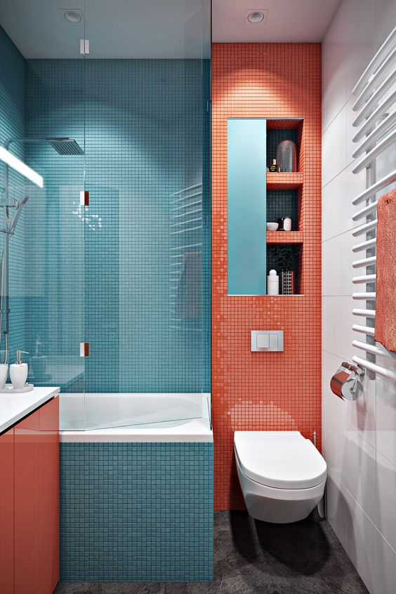 a simple color blocking idea pairing coral with blue and touches of white for refreshing the space visually