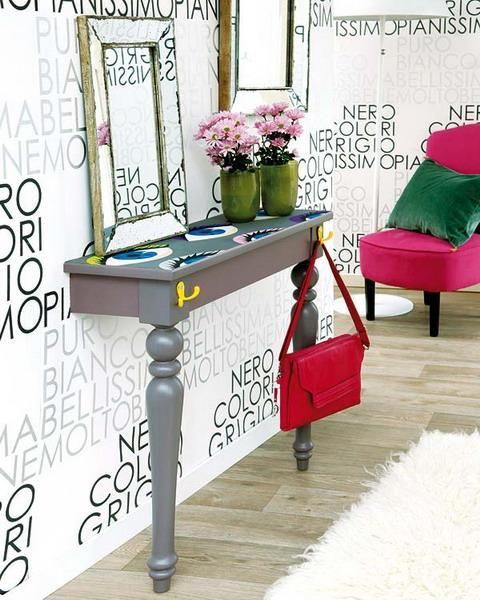 cut a vintage table in halves and spruce it up with bold stencils, decals or painting