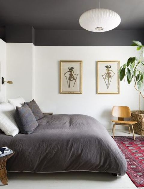 a monochromatic space is spruced up with color blocking on the ceiling and matching bedding