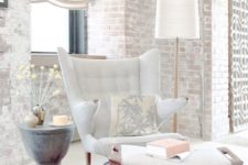 17 a whitewashed brick wall for a relaxed and subtle living room but with a bit of edge