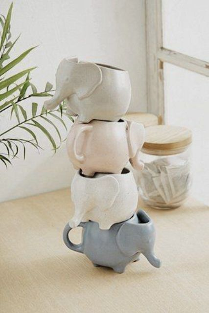 pastel-colored elephant cups