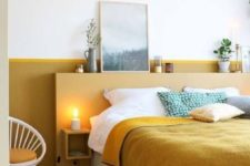 18 a mustard headboard and wall behind it for a color block effect and a touch of color in the bedroom