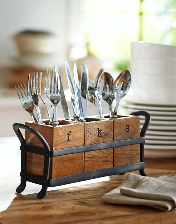 a rustic wood and metal utensil holder is a comfy and durable idea