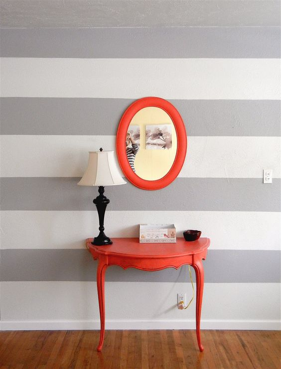 if you need a small or narrow console in your foyer, think of cutting a table in halves and painting it