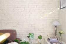 19 a whitewashed brick wall is a chic idea for any room to make an accent or to create a neutral backdrop for decor