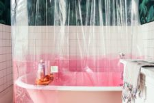 21 a transparent shower curtain with a pink color block element is a simple and catchy idea to try