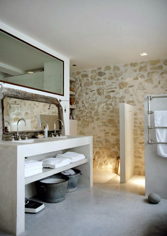 a whitewashed stone wall is a great accent for any bathroom, it brings a natural feel