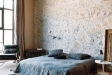 22 add interest to your contemproray bedroom with a whitewashed stone accent wall