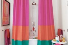 22 color block shower curtains are the easiest and most budget-friendly idea to add a trendy touch to your space