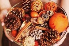 22 make your own fall display in a bowl putting cinnamon bark, pinecones, citrus and other stuff for fall