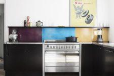 24 a black kitchen is spruced up with a bold idea, a color block kitchen backsplash