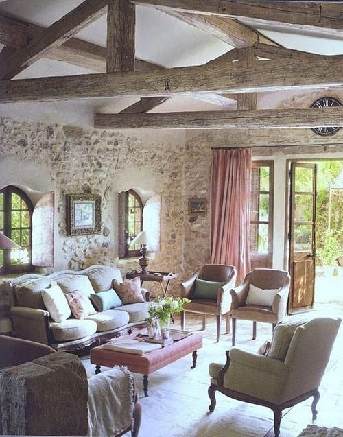 if you already have stone walls, whitewash them to make them look chic