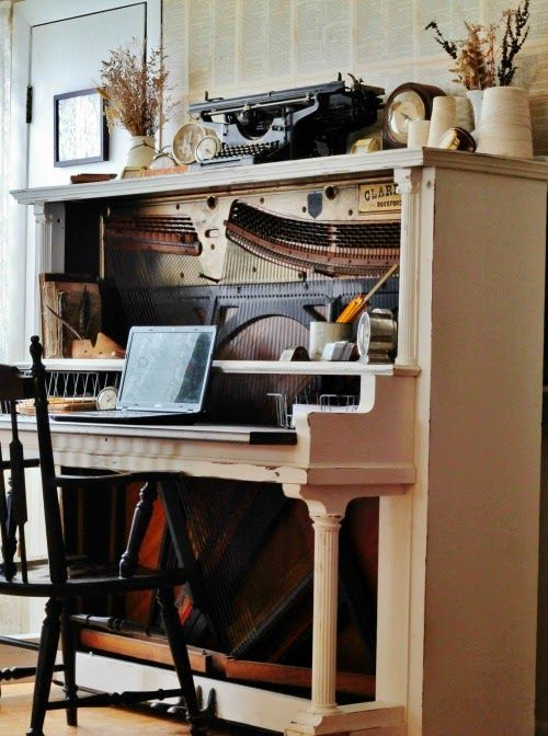 turn an antique piano into an amazing vintage desk, display various vintage items here and there to create an ambience