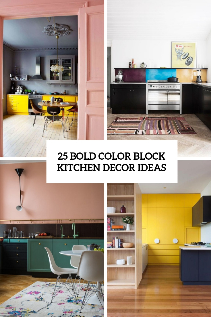 bold color block kitchen decor ideas cover