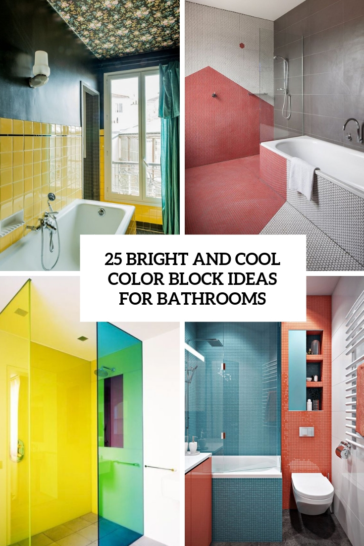bright and cool color block ideas for bathrooms cover