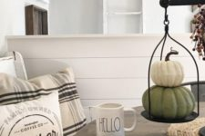 neutral looking fake pumpkin decor