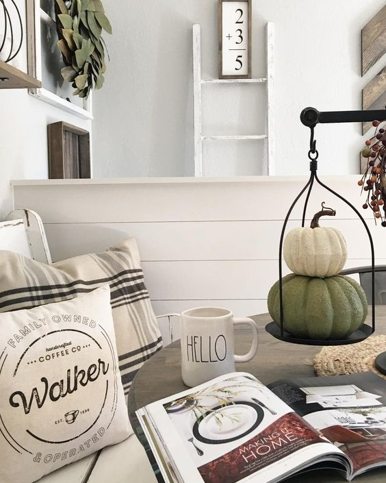 scales with fake pumpkins is a creative and cool fall decor idea with a farmhouse touch