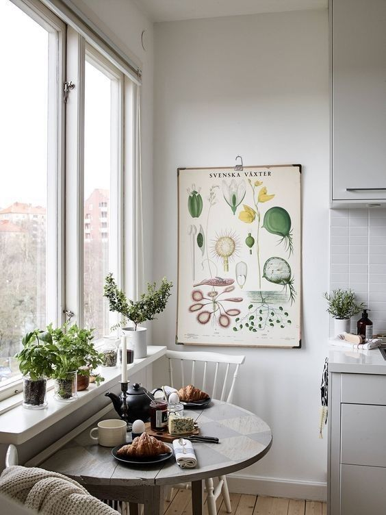 if you have a small kitchen, go for a half table for creating a comfy breakfast nook