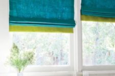 26 spruce up your space easily adding color block Roman shades to the windows