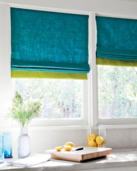 spruce up your space easily adding color block Roman shades to the windows