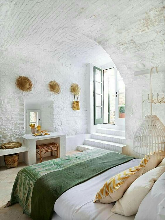 whitewash your whole space including the ceiling to make it airy and serene