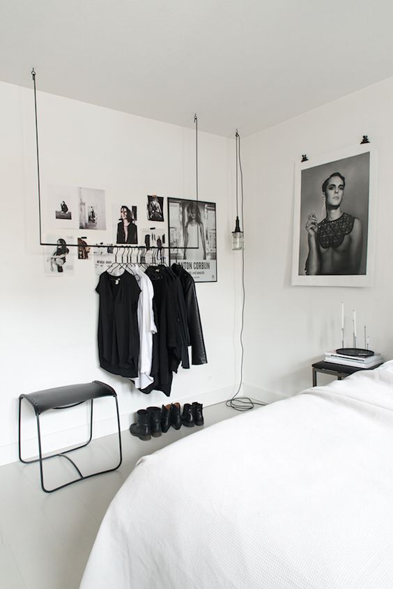 a simple rail for hanging your clothes is an ultra-modern idea
