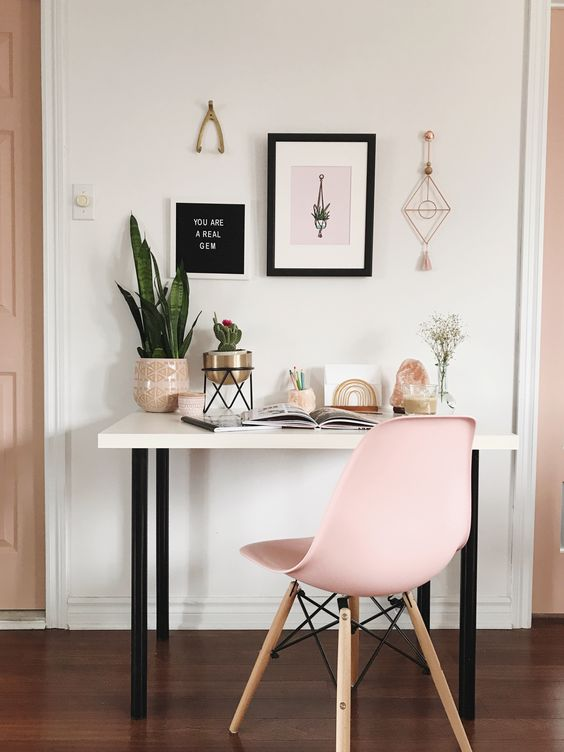 a small desk can double as a vanity if you are a girl