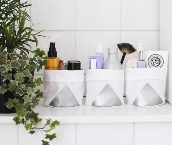storage containers of cloth with a geometric touch for a modern space