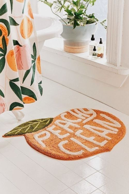 add a quirky touch to your bathroom with a funky bathroom mat