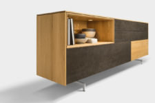 01 Filigno sideboard is a comfortable modern piece that provides storage beautifully and combines the latest technology and traditional craftsmanship
